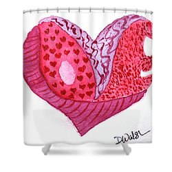 Shower Curtain featuring the painting Love Heart by Donna Walsh