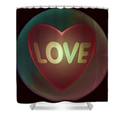 Love Heart Inside A Bakelite Round Package Shower Curtain