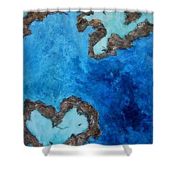 Love Heart Reef Shower Curtain by Georgia  Mansur