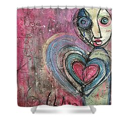 Shower Curtain featuring the painting Love In All Things by Laurie Maves ART