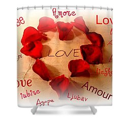 Love In Any Language Shower Curtain by Kathy Bucari