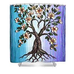 Shower Curtain featuring the painting Tree Of Love by Agata Lindquist