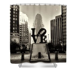 Love In Sepia Shower Curtain by Bill Cannon