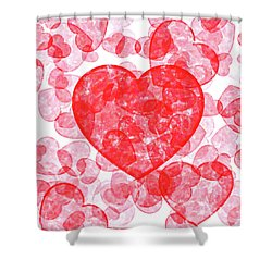 Shower Curtain featuring the digital art Love In The Blood - Heart Pattern by Mark Tisdale