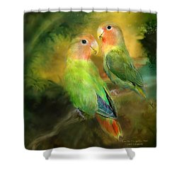 Love In The Golden Mist Shower Curtain by Carol Cavalaris