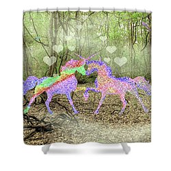 Love In The Magical Forest Shower Curtain by Rosalie Scanlon