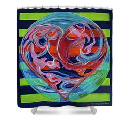 Shower Curtain featuring the painting Love Is A Planetary Force by Denise Weaver Ross