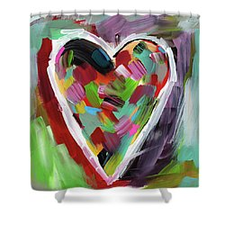 Shower Curtain featuring the mixed media Love Is Colorful 3- Art By Linda Woods by Linda Woods
