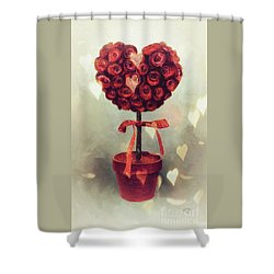 Shower Curtain featuring the digital art Love Is In The Air by Lois Bryan
