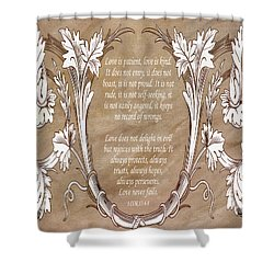 Shower Curtain featuring the digital art Love Is Patient by Angelina Vick