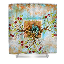 Love Is The Red Thread Shower Curtain by Shiloh Sophia McCloud