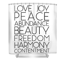 Love Joy Peace Beauty Virtues Shower Curtain