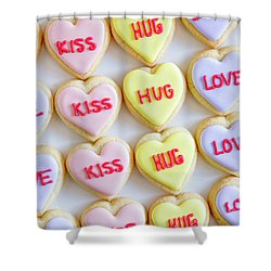 Shower Curtain featuring the photograph Love Kiss Hug Heart Cookies by Teri Virbickis