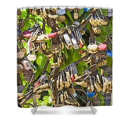 Shower Curtain featuring the photograph Love Locks Square by Chris Dutton