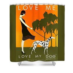 Love Me Love My Dog - 1920s Art Deco Poster Shower Curtain