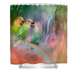 Love On A Rainbow Shower Curtain