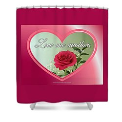 Shower Curtain featuring the digital art Love One Another Card by Sonya Nancy Capling-Bacle