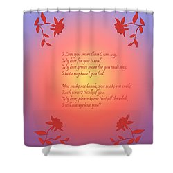 Shower Curtain featuring the digital art Love Poetry by Karen Nicholson