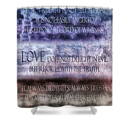 Shower Curtain featuring the digital art Love Rejoices With The Truth by Angelina Vick
