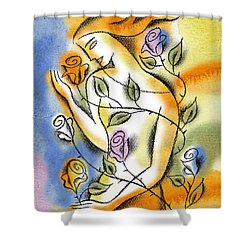 Shower Curtain featuring the painting Love, Roses And Thorns by Leon Zernitsky