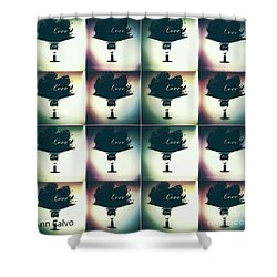 Shower Curtain featuring the mixed media Love  by Ann Calvo
