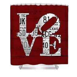 Love Sign Vintage License Plates On Red Barn Wood Shower Curtain by Design Turnpike