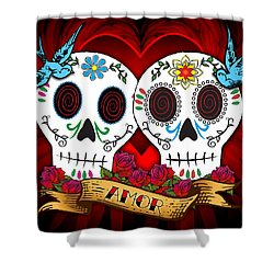 Love Skulls Shower Curtain by Tammy Wetzel