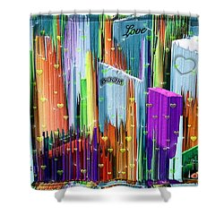 Shower Curtain featuring the digital art Love The City By Nico Bielow by Nico Bielow