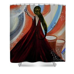 Love To Dance Abstract Acrylic Painting By Saribelleinspirationalart Shower Curtain