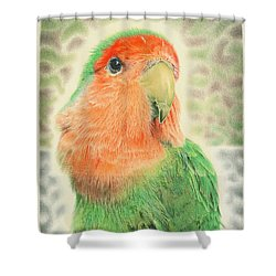 Lovebird Pilaf Shower Curtain