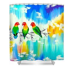 Lovebirds On A Branch Shower Curtain by Cathy Jacobs