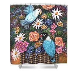 Lovebirds Two Shower Curtain by Linda Mears