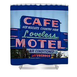 Loveless Cafe And Motel Sign Shower Curtain by Debra Martz