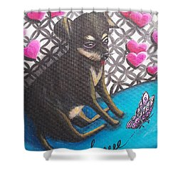 Lovely Chihuahua Puppy  Shower Curtain by Beryllium Canvas