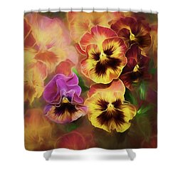 Lovely Spring Pansies Shower Curtain by Diane Schuster