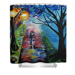 Lovely Stroll By The Lake Shower Curtain by Leslie Allen