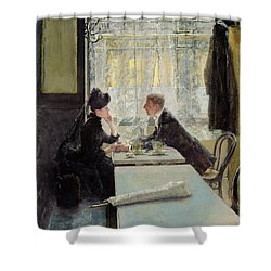 Lovers In A Cafe Shower Curtain by Gotthardt Johann Kuehl