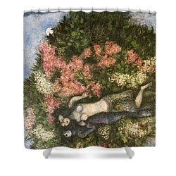 Lovers In The Lilacs Shower Curtain by Marc Chagall