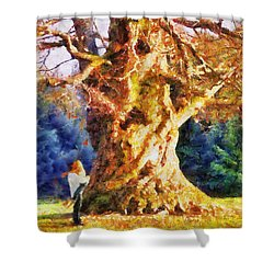 Lovers Tree Shower Curtain by Jai Johnson