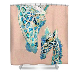 Loving Giraffes Family- Coral Shower Curtain by Jane Schnetlage