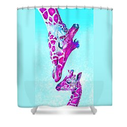 Loving Giraffes- Magenta Shower Curtain by Jane Schnetlage