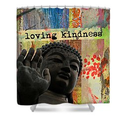 Shower Curtain featuring the mixed media Loving Kindness. Buddha by Lita Kelley