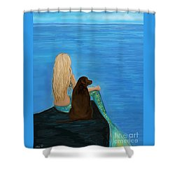 Shower Curtain featuring the painting Loving Lab Loyalty by Leslie Allen
