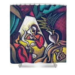 Shower Curtain featuring the painting Loving Relationship by Leon Zernitsky