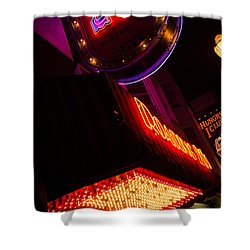 Shower Curtain featuring the photograph Low Angle Neon Signs At Night In North Beach San Francisco by Jason Rosette