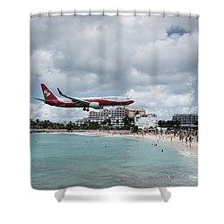 Low Landing At Sonesta Maho Beach Shower Curtain
