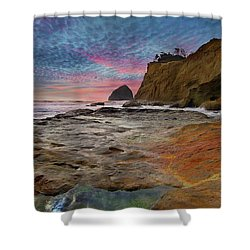 Low Tide At Cape Kiwanda Shower Curtain by David Gn