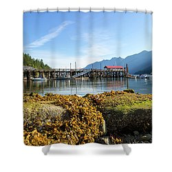 Low Tide At Horseshoe Bay Canada On A Sunny Day Shower Curtain by David Gn