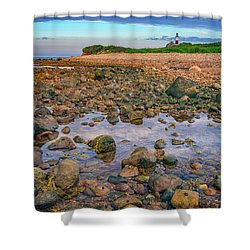 Low Tide At Montauk Point Shower Curtain by Rick Berk