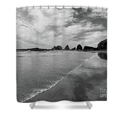 Low Tide - Black And White Shower Curtain by Scott Cameron